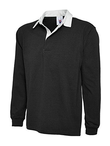UC401 Uneek 330 gsm Premium Rugby Shirt Schwarz