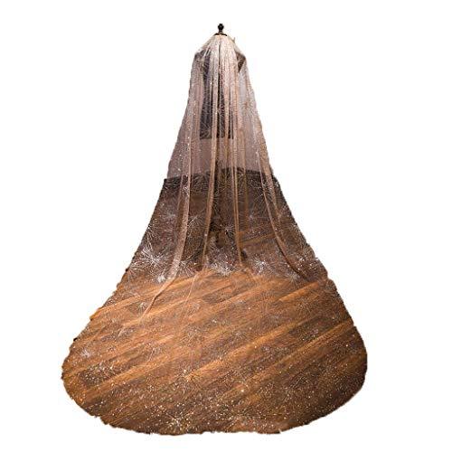 Zcm velo da sposa, nuovo spray paillettes oro scintillante champagne singolo strato 3 metri lungo trailing inserto pettine filato abito da sposa accessori