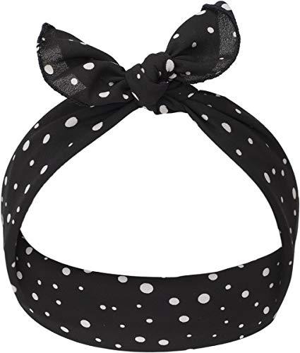 Haarband Tizie Punkte Polka Dot Bandana (Schwarz mit weißen Dots) ()