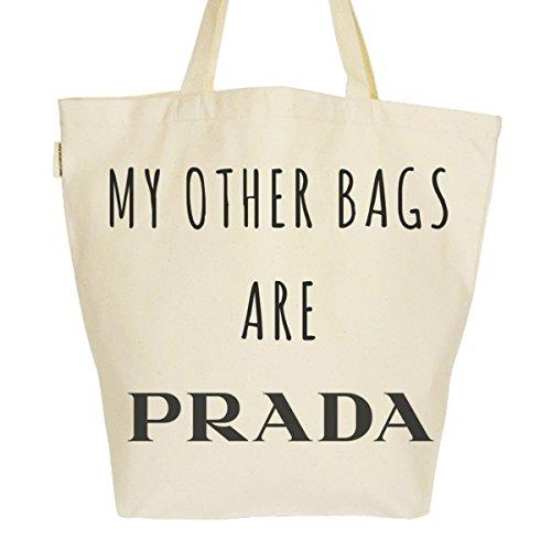 Grand Sac Cabas Fourre-tout Imprimé Toile Bio 37x45x20cm Tote Bag XL - My other bags are Prada