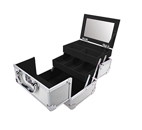 Mini Valigetta Make up Beabox per trucchi e cosmetici con specchio - Portatile Allungabile Compatta - Beauty Case da viaggio