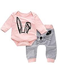 Vectry Ropa para Niñas Disfraz Conjunto Bebé Niña Cartoon Rabbit Tops Impresión Rompers Pantalones Conjuntos De Ropa Conjunto De Trajes Otoño Invierno Trajes