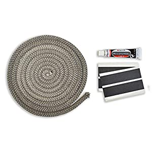 Junta para puerta de chimenea, juego de junta de 3 m, diámetro de 12 mm, incluye adhesivo y brida de cordón para…
