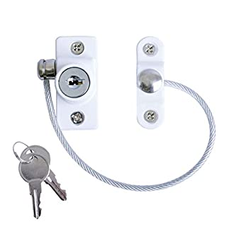 Securit Window and Door Cable Restrictor Lock With Screws Child and Baby Safety Security Wire White