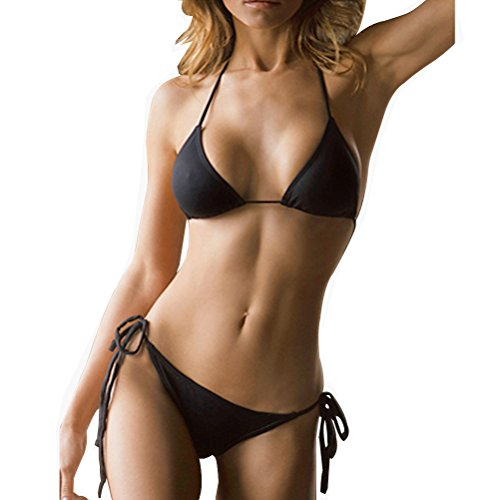 SHERRYLO 10 Solid Color Women's Thong Bikini Set String Bademode For S-XL Body (Black) (Side-tie Bikini Set)