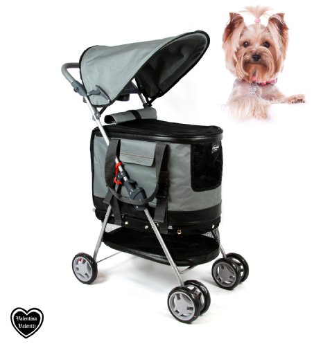 Valentina Valentti Haustierbuggy / Hundebuggy, All-in-One (Hundeautositz / Buggy / Haustiertransporttasche), Grau