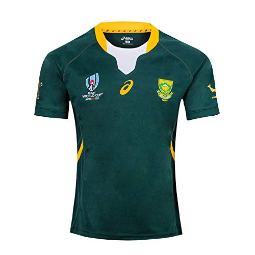 LANREN 2019 Weltmeisterschaft Rugby Jersey Rugby-Trikot South Africa Home/Away Für Männer Kurzarm-Freizeit-T-Shirt-Trainingsanzüge Südafrika Zu Heim Auswärts S-3XL (XL,Blue)