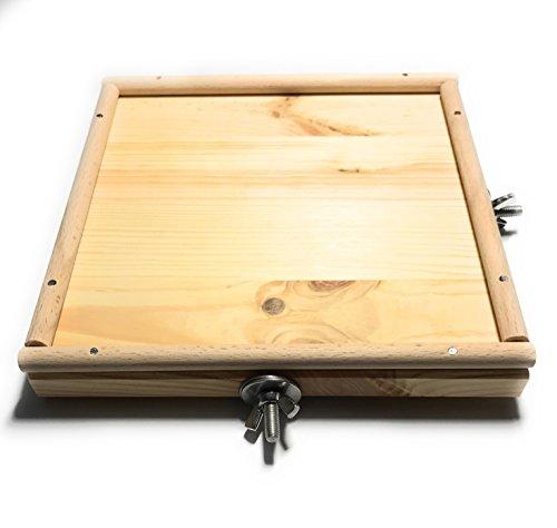 Vitezza Vogel-Sitzbrett L mit Umrandung aus Buchenholz für Wellensittiche, Nymphensittiche - 20cm x 20cm mit Befestigungsmaterial aus Edelstahl | Vogelzubehör | Vogelkäfig Zubehör Wellensittiche