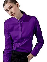 203cbc0f478e FLY HAWK Camicia Basic da Donna in Cotone Manica Lunga - Camicetta Casual  Blusa Chiusura Bottoni Slim Formale Elegante - Camicia Shirt con…