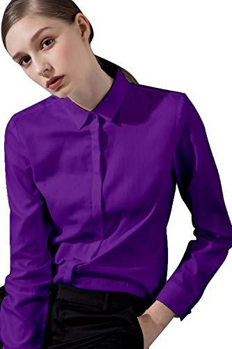 FLY HAWK Bluse Hemdbluse Damen Hemd Basic Kent-Kragen Elegant OL Work Slim Fit Langarm Stretch Formelle Hemden,Violett, Größe 40, Hersteller - 12 Stretch-damen Pullover