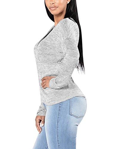 BIUBIU Damen Langarm Oberteil Pullover Baumwolle Top Langarm Bluse Hemd Shirt Oversize Grau