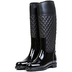 AONEGOLD Botas de Agua Mujer Botas de Lluvia Impermeable Altas Bota de Goma Wellington Boots Otoño e Invierno(Negro,37 EU)