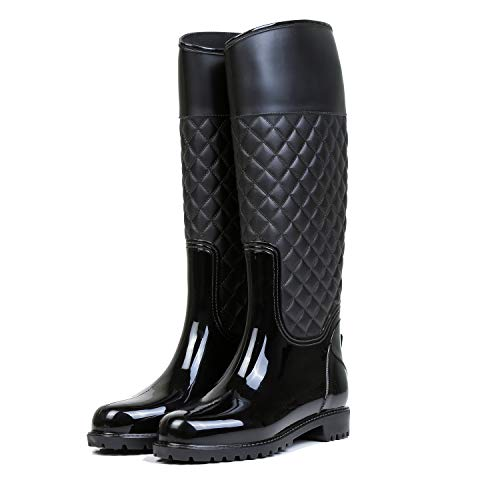 AONEGOLD Women Wellington Boots Knee High Rain Boots Waterproof Warm with Soft Villi Spliced Rainshoes