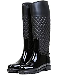 LILY999 Botas de Agua Mujer Botas de Lluvia Impermeable Altas Bota de Goma Wellington Boots Otoño e Invierno