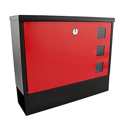 Nean Briefkasten Postkasten aus Metall rot mit Zeitungsfach