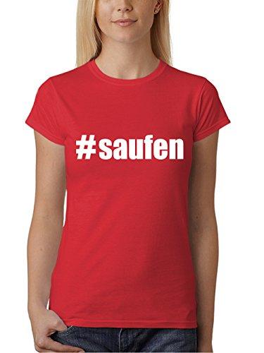 clothinx Damen T-Shirt Karneval #Saufen Rot Mit Weiß