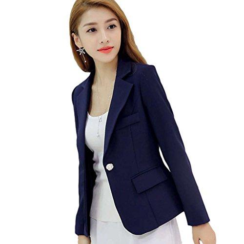 YiLianDa Donna Maniche Lunghe Cardigan Blazer Cappotto Coat Jacket Giacca Outwear Blu S