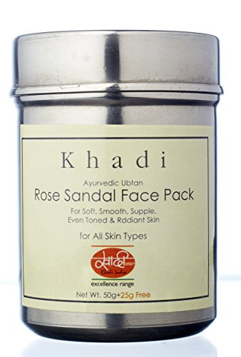 Khadi Mauri Herbal Rose Sandal Face Pack - Skin Nourishment, Oil Control & Anti Tan - 100 g