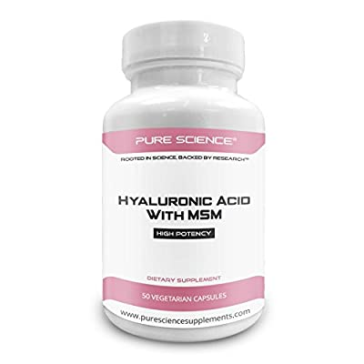 Pure Science Hyaluronic Acid and MSM 520mg - Hyaluronic Acid Supplements for Joint & Muscle Health, Skin Elasticity and Eye Health - 50 Vegetarian Capsules by Pure Science