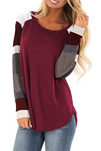 YOINS Camiseta Manga Larga Mujer Camisas Rayas Cuello