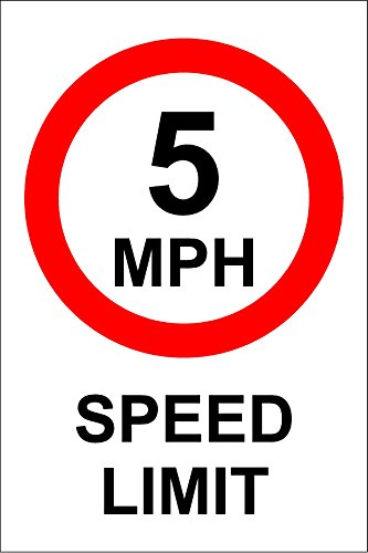 5 MPH Speed Limit Safety Sign - 1.2mm Rigid plastic 300mm x 200mm