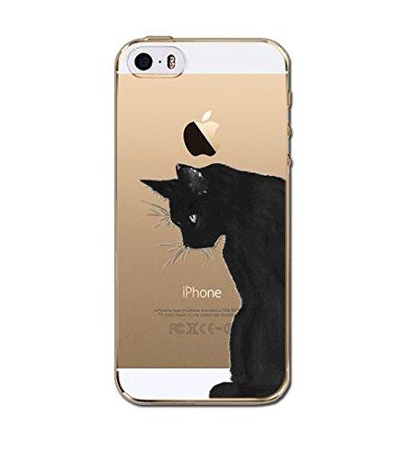 Coque Souple en Gel silicone pour Iphone 5 ,5S et 5SE , etui , couverture , housse ,arriere , chat noir sur un fil a droite Grand chat2
