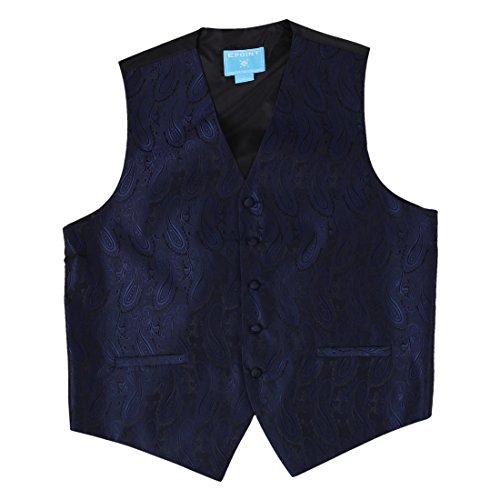 EGD1B.01 Reihen-Muster-Mikrofaser-Kleid-Smoking-Weste-Ansatz-Krawatten-Satz-M?nner durch Epoint Blau - EGD1B03C-Navy Black