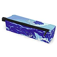 Pencil Bag Case Sunglasses Sea Waves Japanese Style Cosmetic Students Stationery Pouch Zipper for Girls Boys