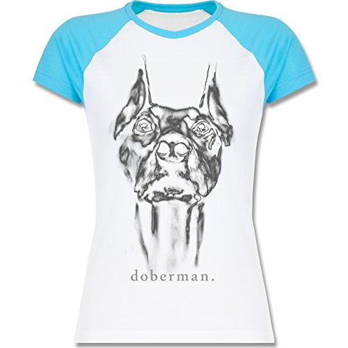 Hunde - Doberman - XL - Weiß/Türkis - L195 - zweifarbiges Baseballshirt/Raglan T-Shirt für Damen (Mops Neue T-shirt Weiße)