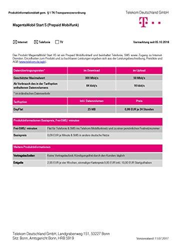 Magenta Mobil Start S Xtra Karte Telekom 10 Euro Guthaben Prepaid Handy SIM T-Mobile zum selber registrieren (Prepaid Tmobile Handys)