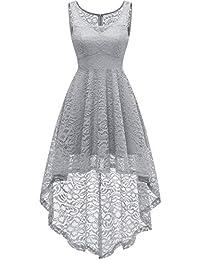 HomRain Vestito Donna in Pizzo Senza Maniche Alto Basso Elegante Vintage Abiti  da Cerimonia Sera Swing c462f15d095