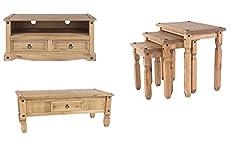 Home Essentials Inc 01536 618479 Corona 3-Piece Living Room Set Coffee Table,TV Unit & Nest Of Tables Pine