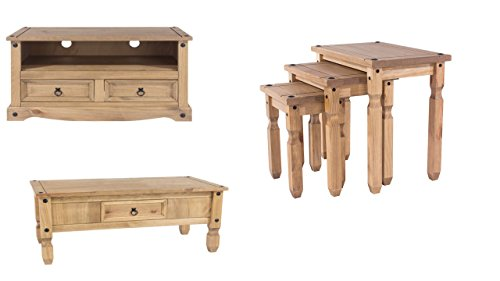 Home Essentials Inc 01536 618479 Corona 3-Piece Living Room Set Coffee Table,TV Unit & Nest Of Tables Pine