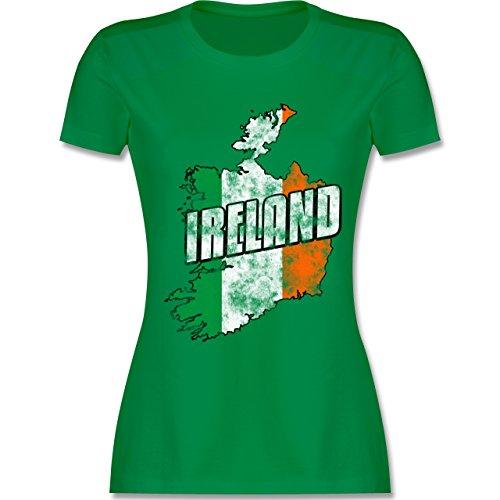 EM 2016 - Frankreich - Ireland Umriss Vintage - tailliertes Premium T-Shirt mit Rundhalsausschnitt für Damen Grün