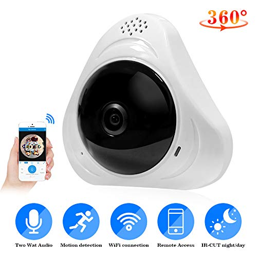 960 P 3MP 3D VR WiFi Fisheye IP Überwachungskamera 360 Grad Vollansicht Mini CCTV Kamera 1.3MP Netzwerk Home Security Kamera Panorama,Black,1080P 360-grad-cctv