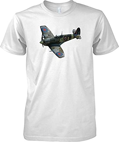 Spitfire Pop Art Design - WW2 Classic Fighter Airplane - Kids T Shirt - White - 9-11 Years