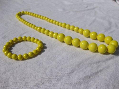 Collier et bracelet avec grosses perles de couleurs Jaune