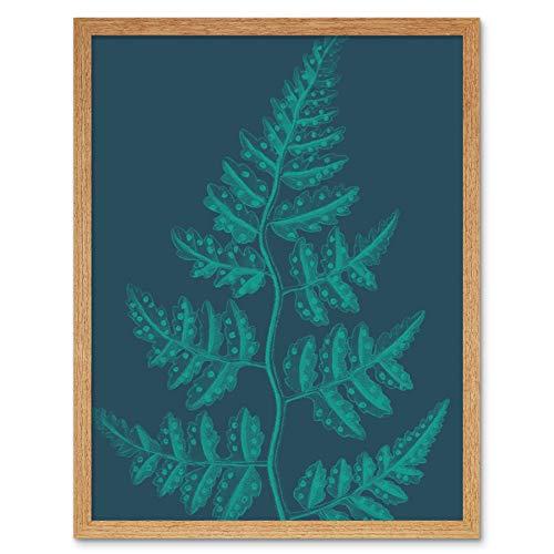 Wee Blue Coo LTD Navy and Teal Fern Leaf Art Print Framed Wall Decor 9X7 inch Marine Wand Deko -