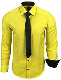42791779d788 Rusty Neal R-44-KR Herren Kontrast Hemd Business Hemden mit Krawatte  Hochzeit Freizeit