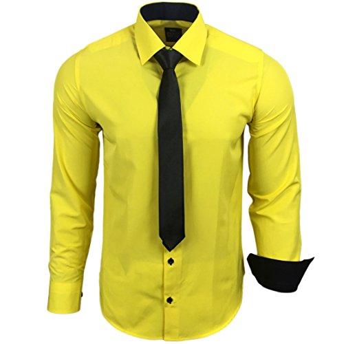 R-44-KR Herren Kontrast Hemd Business Hemden mit Krawatte Hochzeit Freizeit Fit, Farbe:Gelb;Größe:XL