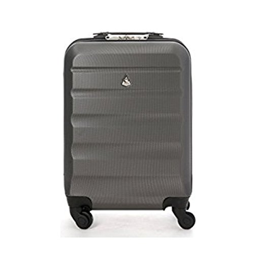 Aerolite Super Lightweight ABS Hard Shell Travel Carry On Cabin Hand Luggage Suitcase with 4 Wheels, Approved for Ryanair, Easyjet, British Airways, Virgin Atlantic, Flybe and Many More, (Charcoal)