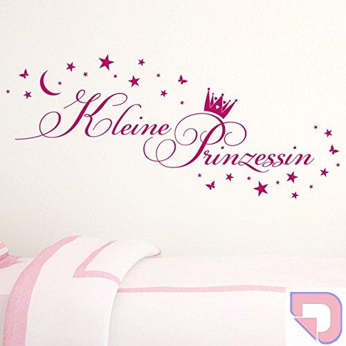 DESIGNSCAPE® Wandtattoo Kleine Prinzessin mit Krone, Sternen, Mond und Schmetterlingen - Kinderzimmer, Babyzimmer 80 x 35 cm (Breite x Höhe) pastell-rosa DW808120-S-F98