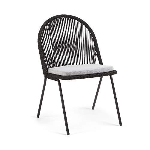 Kave Home Chaise Shann Corde Noir et Pieds Acier Noir