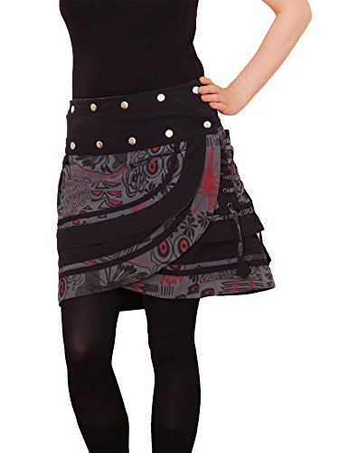 PUREWONDER Damen Wickelrock Baumwolle Rock mit Tasche sk196 Grau Einheitsgröße verstellbar -