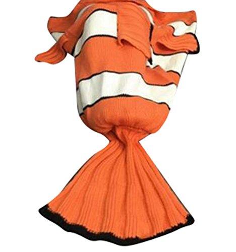 """YuanDian Kinder Meerjungfrau Stricken Decke Fischschwanz Alles Jahreszeiten Kuscheldecke Handgefertigt Schwanzflosse Decke Häkeln Schlafsack Geschenk Mädchen 16# 140*70cm(55.1""""*27.6"""")"""