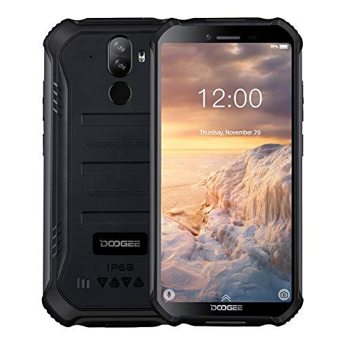 """DOOGEE S40 Android 9.0 Outdoor Smartphone ohne Vertrag 3GB+32GB, Dual SIM 4G Robustes Handy IP68/IP69K Wasserdicht, 5,5"""" 4650mAh Quad core, 8MP+5MP Kamera, NFC Fingerabdruck Gesichtserkennung, Schwarz"""