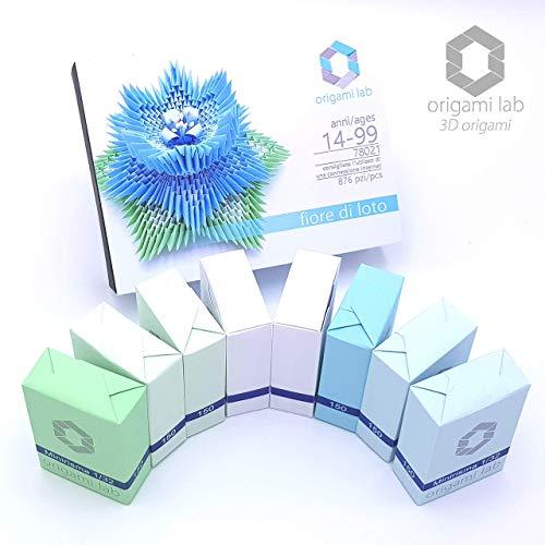 Kit 3d origami di carta da assemblare - 78021 fiore di loto (876 pezzi) con video tutorial online - fatto a mano - tinte pastello azzurro/celeste - ottimo anche come regalo di natale
