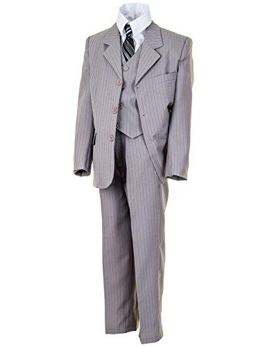 WEI KE XI Festlicher 5tlg. Jungen Anzug in vielen Farben mit Hose, Hemd, Weste, Krawatte und Jacke M313Ngr Grau Nadelstreifen Gr. 12/140 / 146