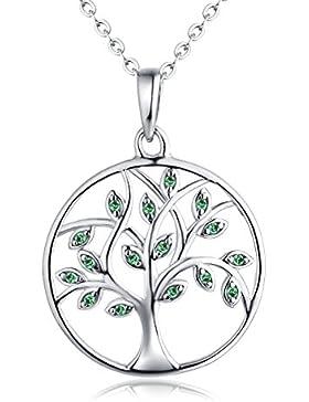 YL Halskette Baum Des Lebens-925 Sterlingsilber Familienstammbaum mit Anhänger für Frau Mom, Kettenlänge 45-50 cm