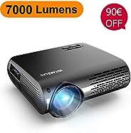 Proyector, WiMiUS 7000 Lúmenes Proyector Full HD 1920x1080P Nativo Soporta 4K Audio AC3 Proyector Video Ajuste